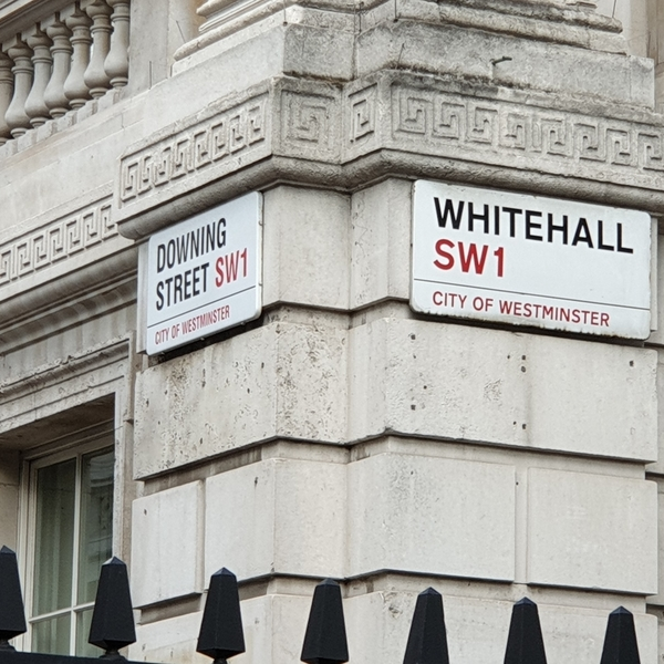 SW1 street signs at the entrance to Downing Street, London